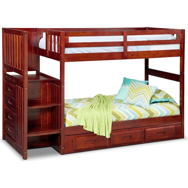 Ranger Twin Over Twin Bunk Bed With Storage Stairs Underbed