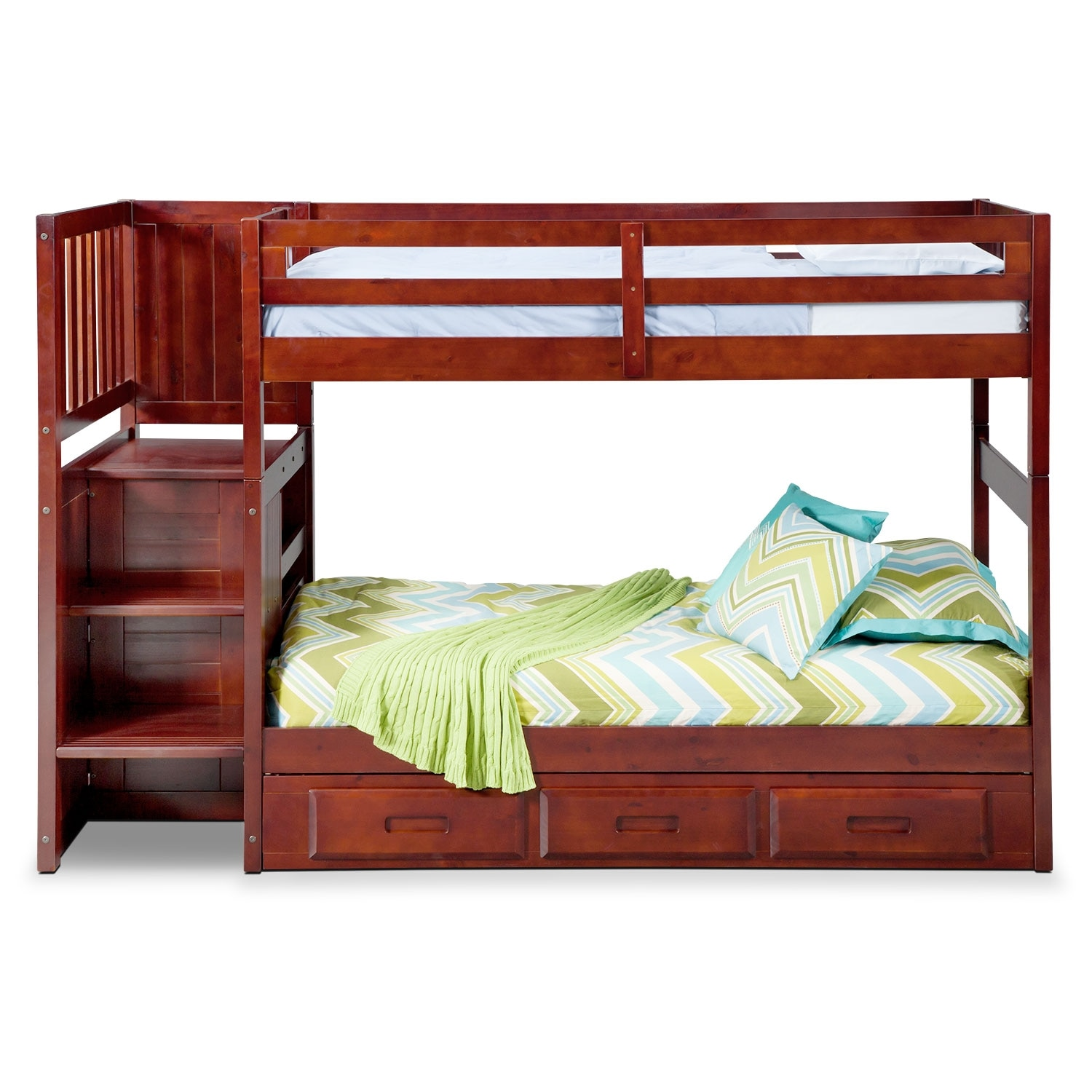 Bed Over Stair Box Google Search: Ranger Twin Over Twin Bunk Bed With Storage Stairs
