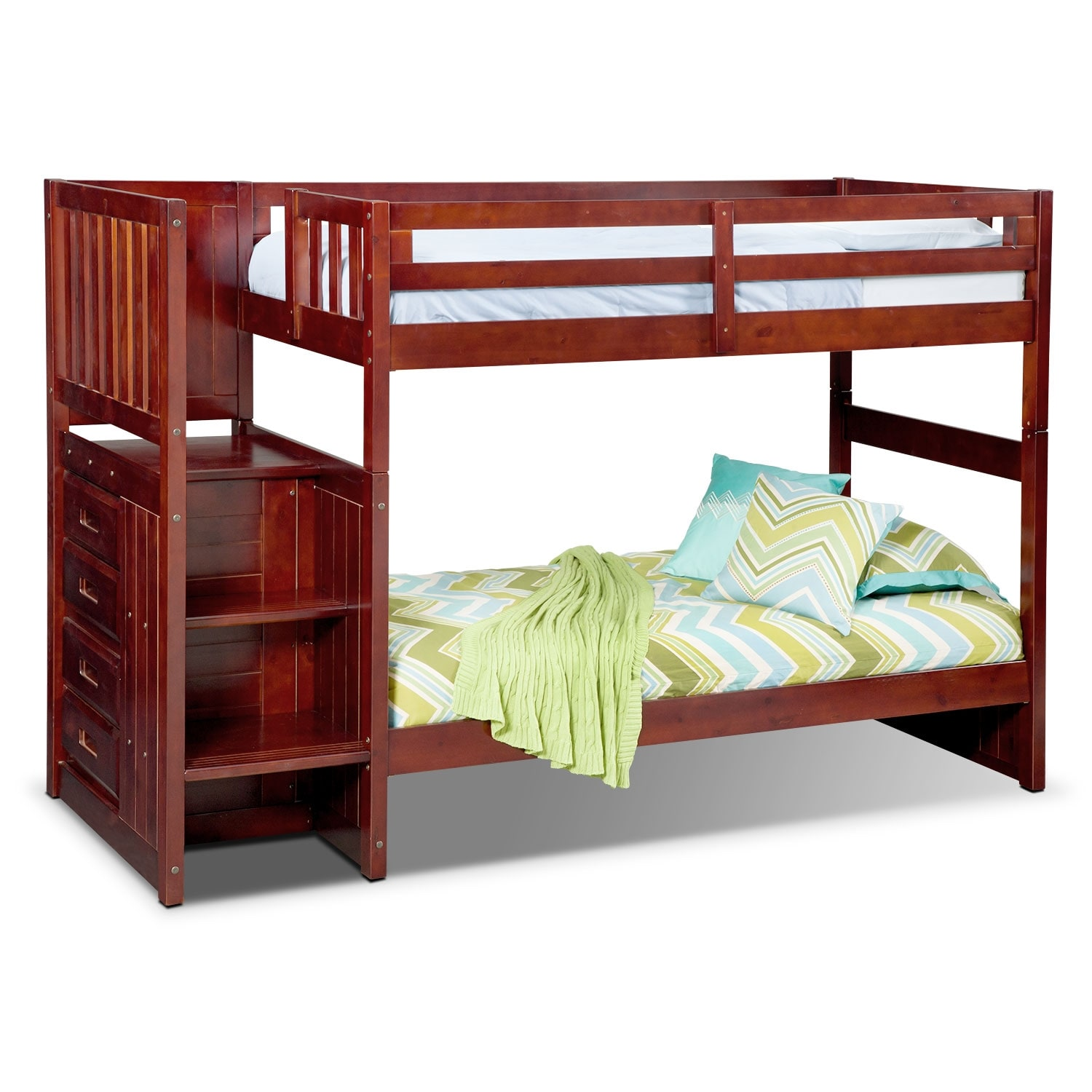 Kids Furniture - Ranger Twin over Twin Bunk Bed with Storage Stairs - Merlot