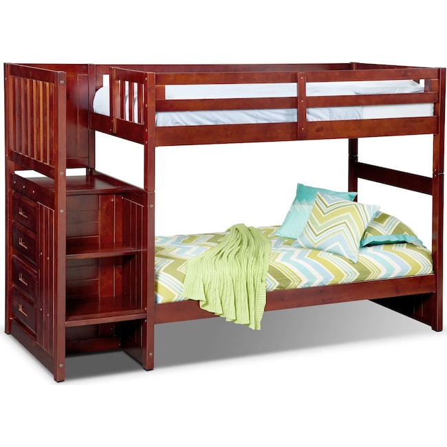 Ranger Twin Over Twin Bunk Bed With Storage Stairs Merlot Value