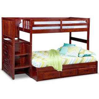 Ranger Twin over Full Bunk Bed with Storage Stairs & Underbed Drawers - Merlot