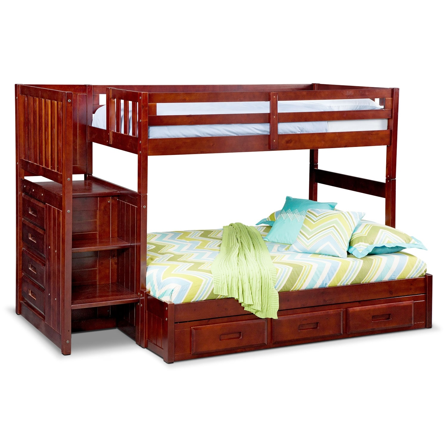 ranger twin over full bunk bed with storage stairs u0026 underbed drawers merlot