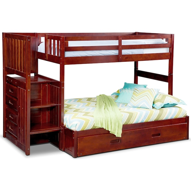 Kids Furniture - Ranger Twin over Full Bunk Bed with Storage Stairs and Trundle - Merlot