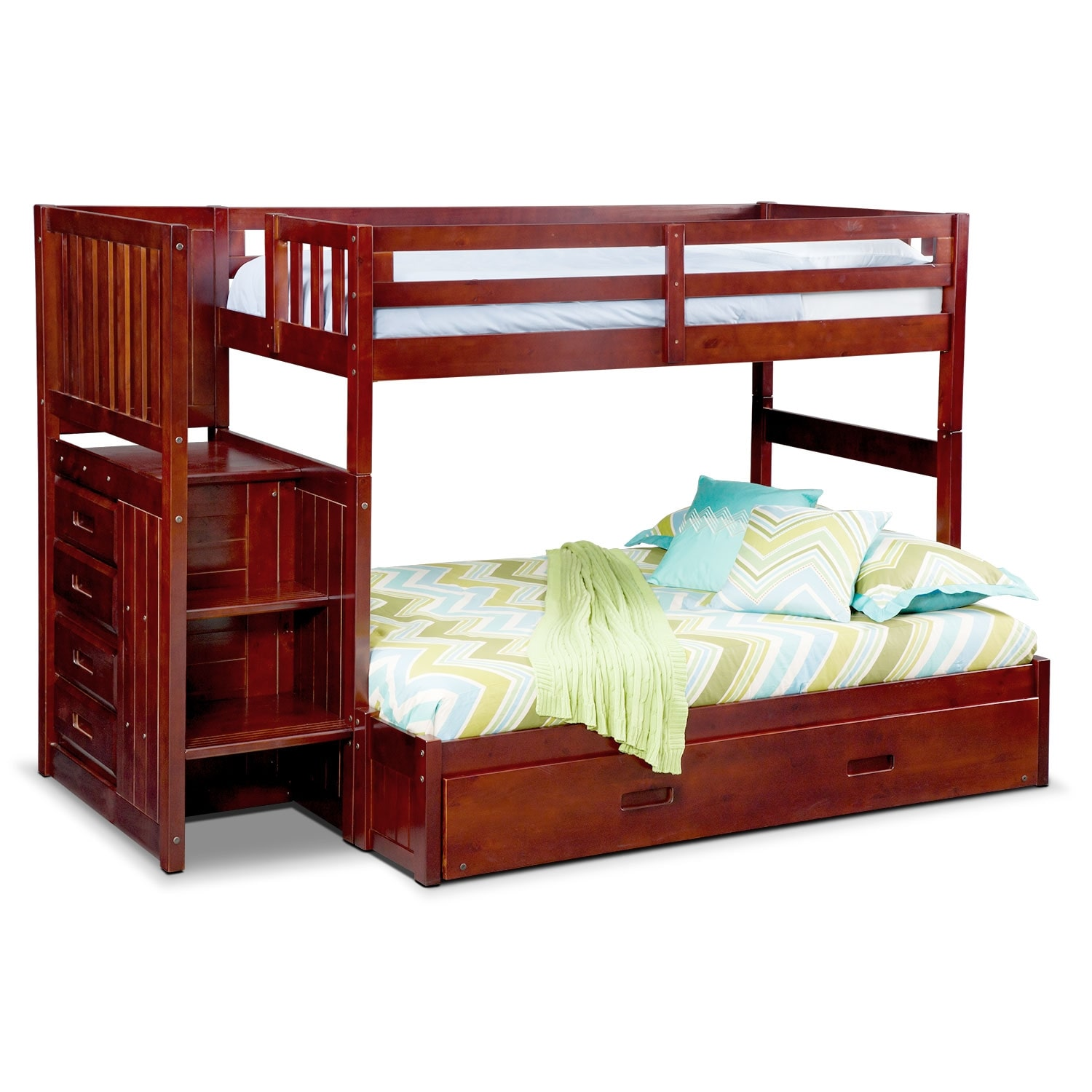 Kids Furniture   Ranger Twin Over Full Bunk Bed With Storage Stairs And  Trundle   Merlot