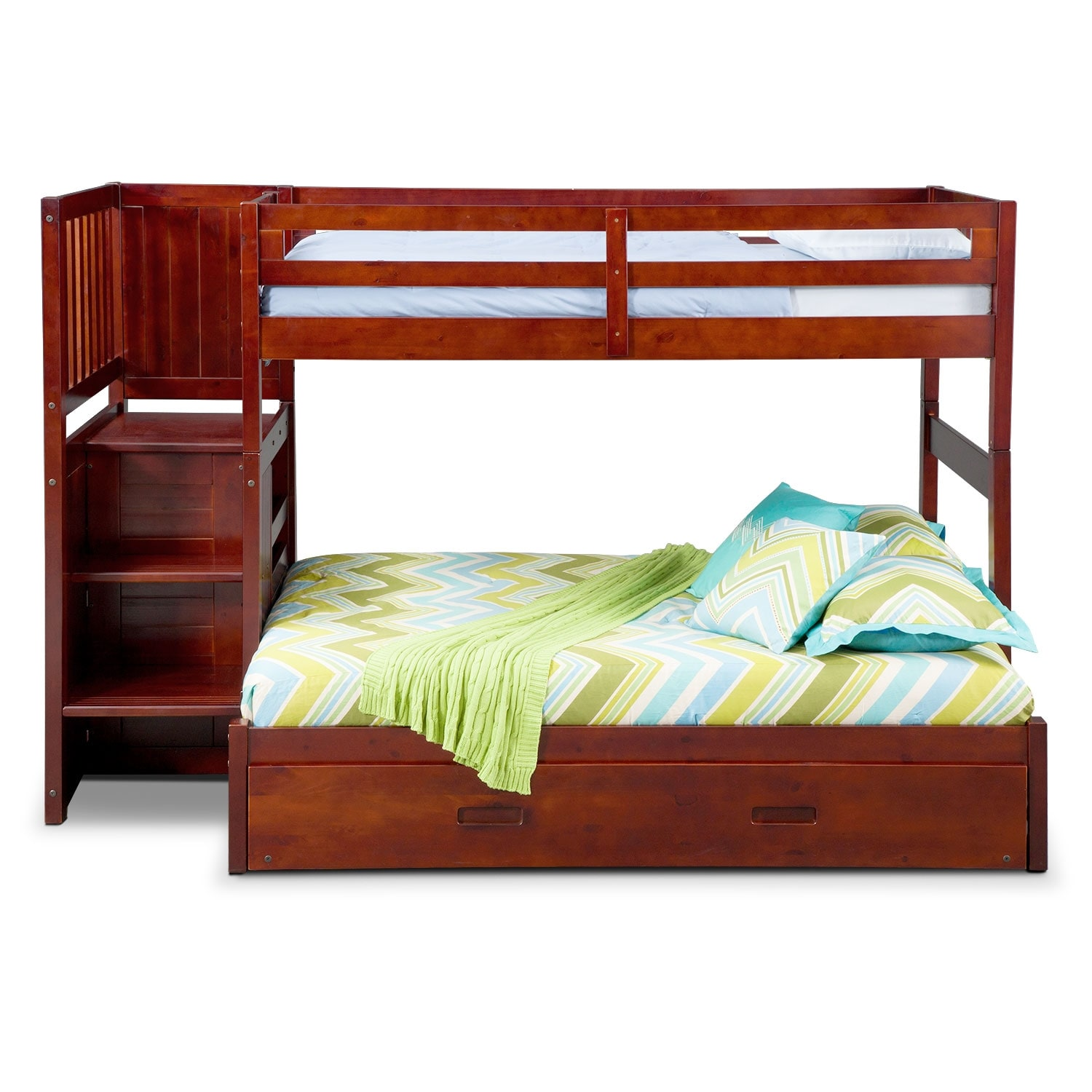 ranger twin over full bunk bed with storage stairs and twin trundle merlot value city. Black Bedroom Furniture Sets. Home Design Ideas