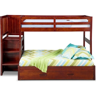 Ranger Twin over Full Bunk Bed with Storage Stairs and Twin Trundle - Merlot