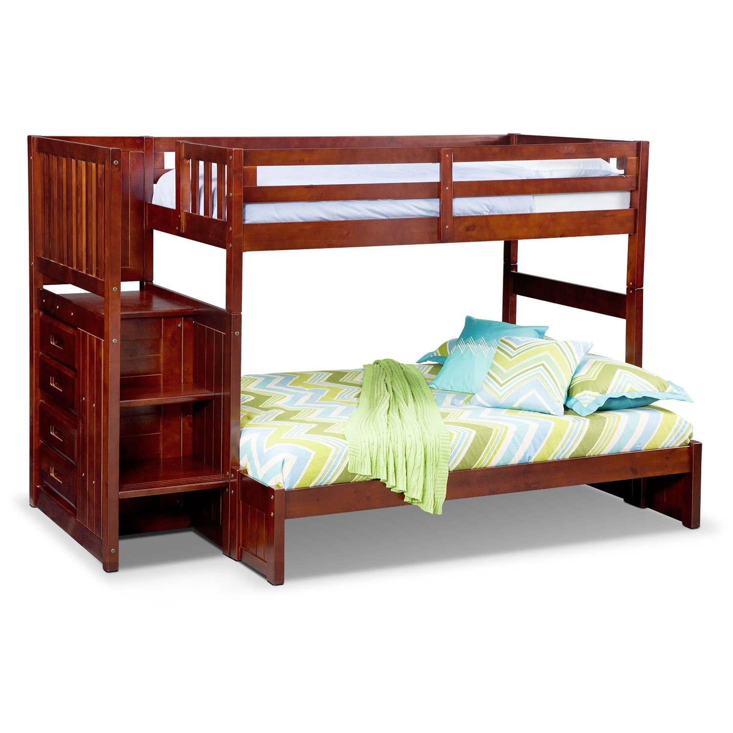 ranger twin over full bunk bed with storage stairs merlot value city furniture. Black Bedroom Furniture Sets. Home Design Ideas