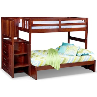 Ranger Twin over Full Bunk Bed with Storage Stairs - Merlot