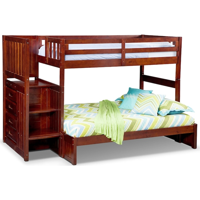 Kids Furniture - Ranger Twin over Full Bunk Bed with Storage Stairs - Merlot