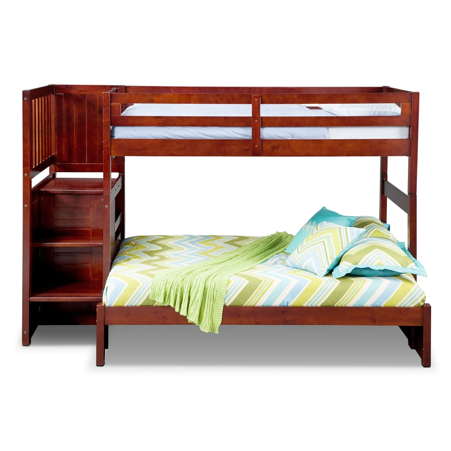ranger twin over full bunk bed with storage stairs merlot value city furniture and mattresses. Black Bedroom Furniture Sets. Home Design Ideas