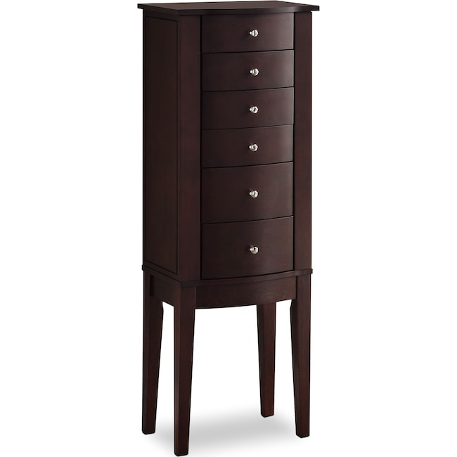 Bedroom Furniture - Abbie Jewelry Armoire - Merlot