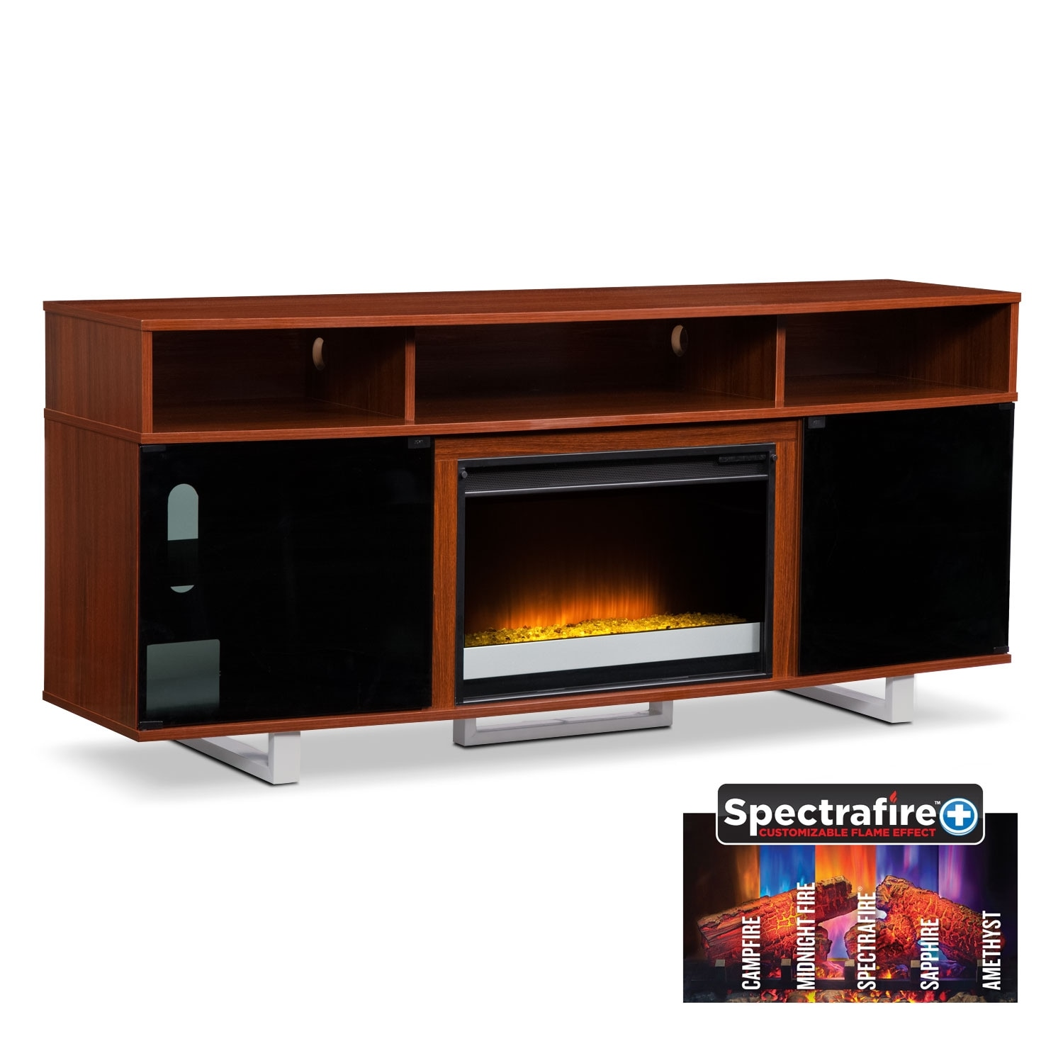 "Entertainment Furniture - Pacer 72"" Contemporary Fireplace TV Stand - Cherry"