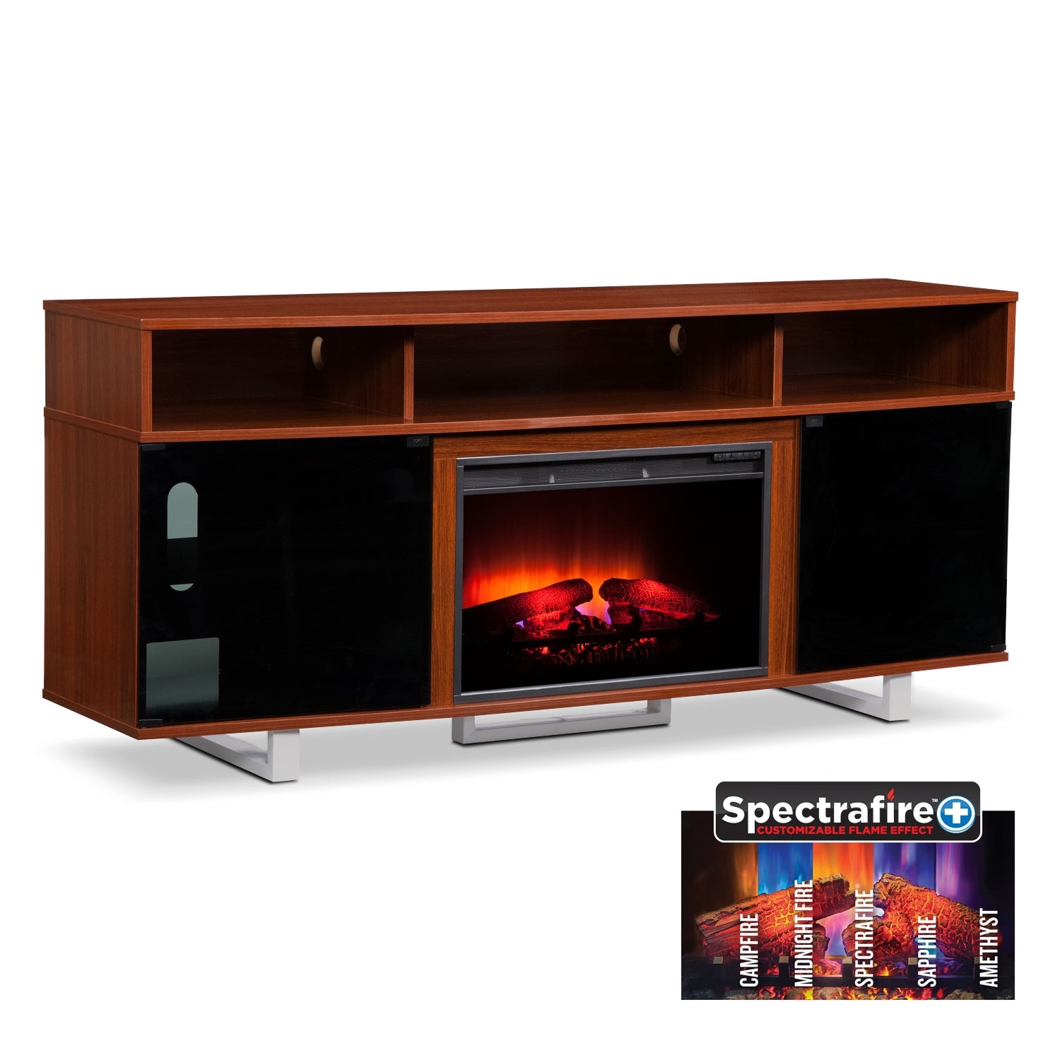 "Entertainment Furniture - Pacer 72"" Traditional Fireplace TV Stand - Cherry"