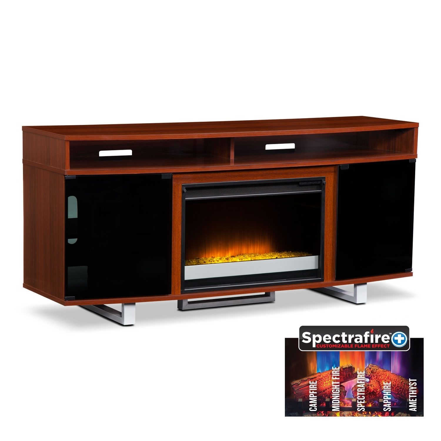 """Entertainment Furniture - Pacer 64"""" Contemporary Fireplace TV Stand - Cherry"""