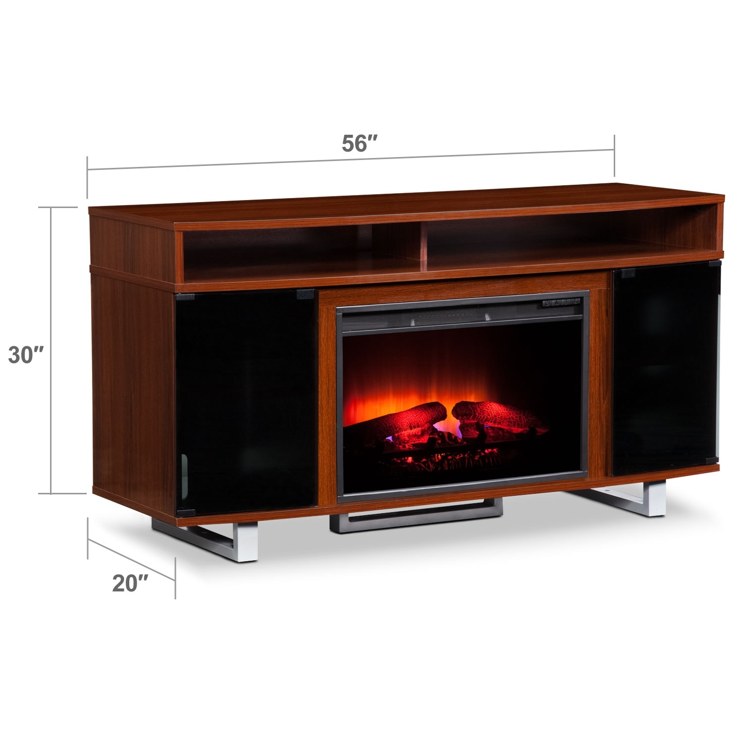 "Entertainment Furniture - Pacer 56"" Traditional Fireplace TV Stand - Cherry"
