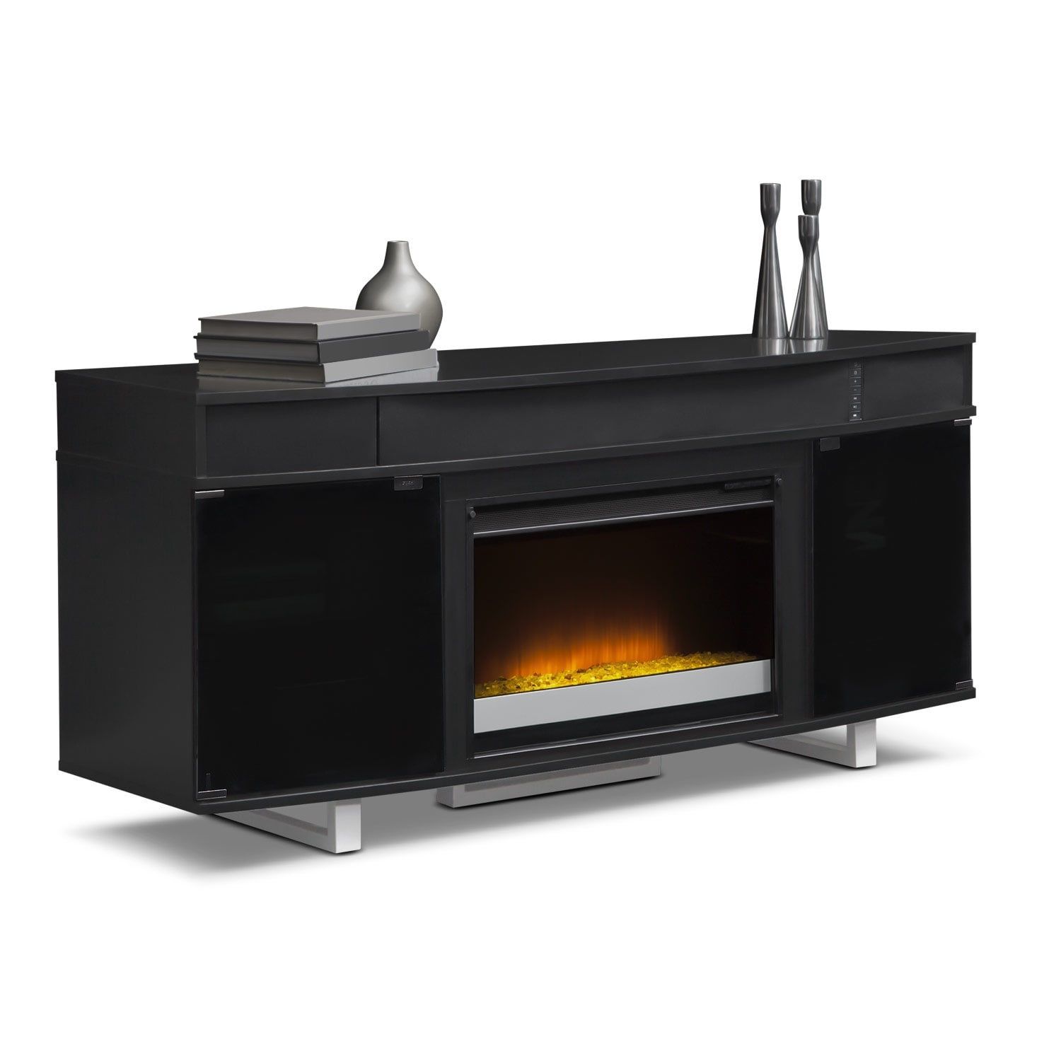 pacer 64 contemporary fireplace tv stand with sound bar black value city furniture and. Black Bedroom Furniture Sets. Home Design Ideas