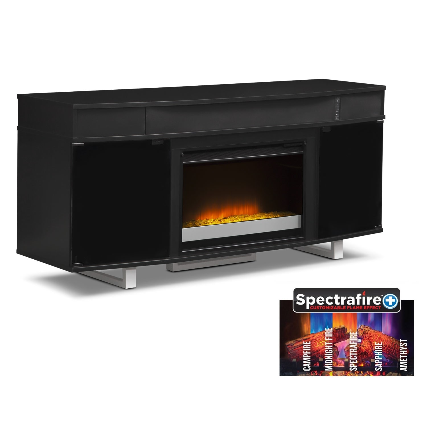 "Entertainment Furniture - Pacer 64"" Contemporary Fireplace TV Stand with Sound Bar - Black"