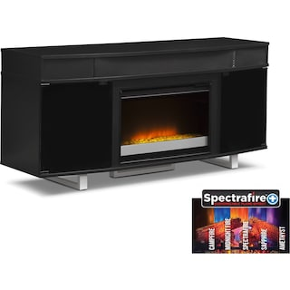 "Pacer 64"" Contemporary Fireplace TV Stand with Sound Bar - Black"
