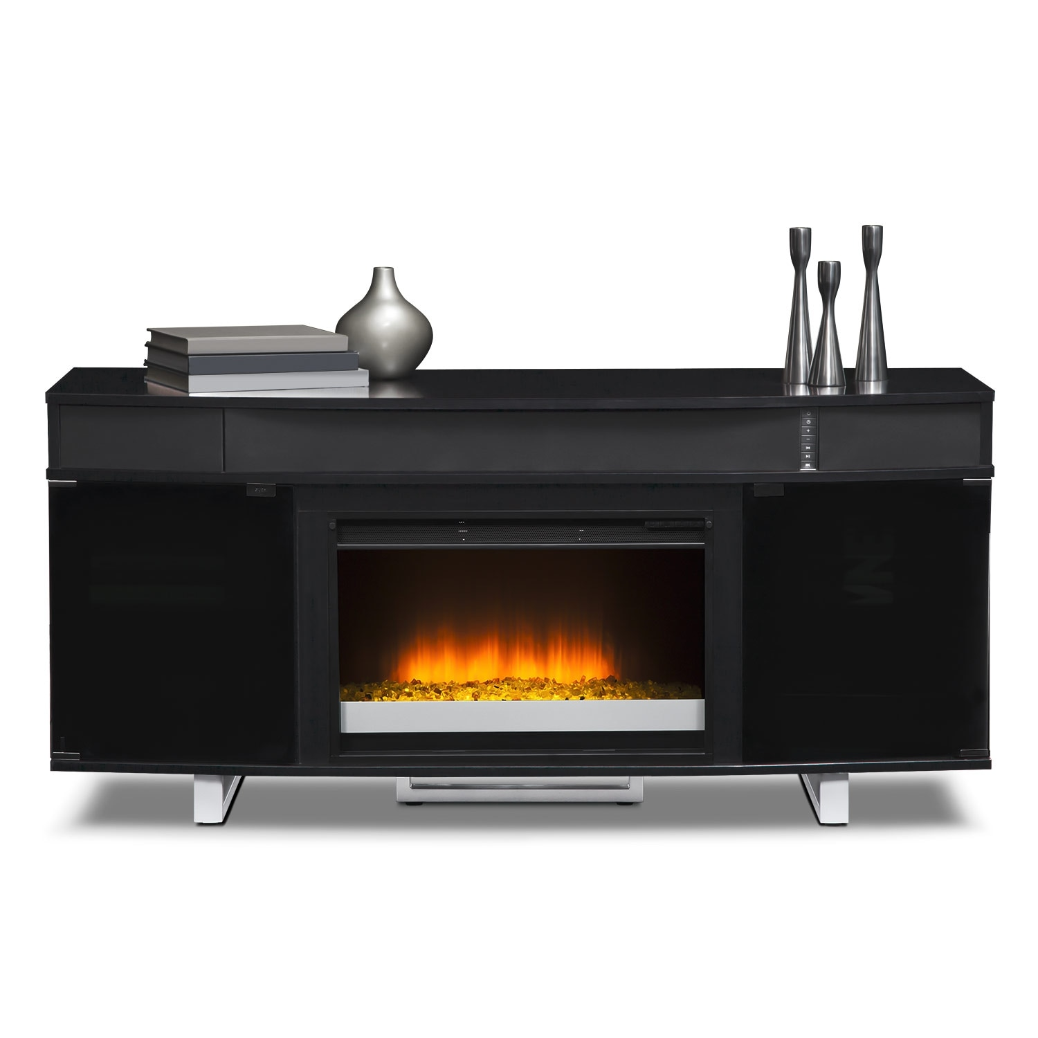 Pacer 64 Quot Contemporary Fireplace Tv Stand With Sound Bar