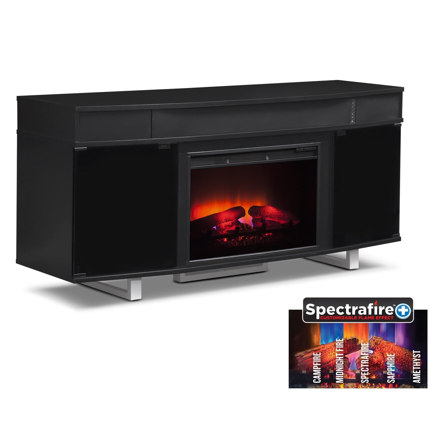 "Entertainment Furniture - Pacer 64"" Traditional Fireplace TV Stand with Sound Bar - Black"