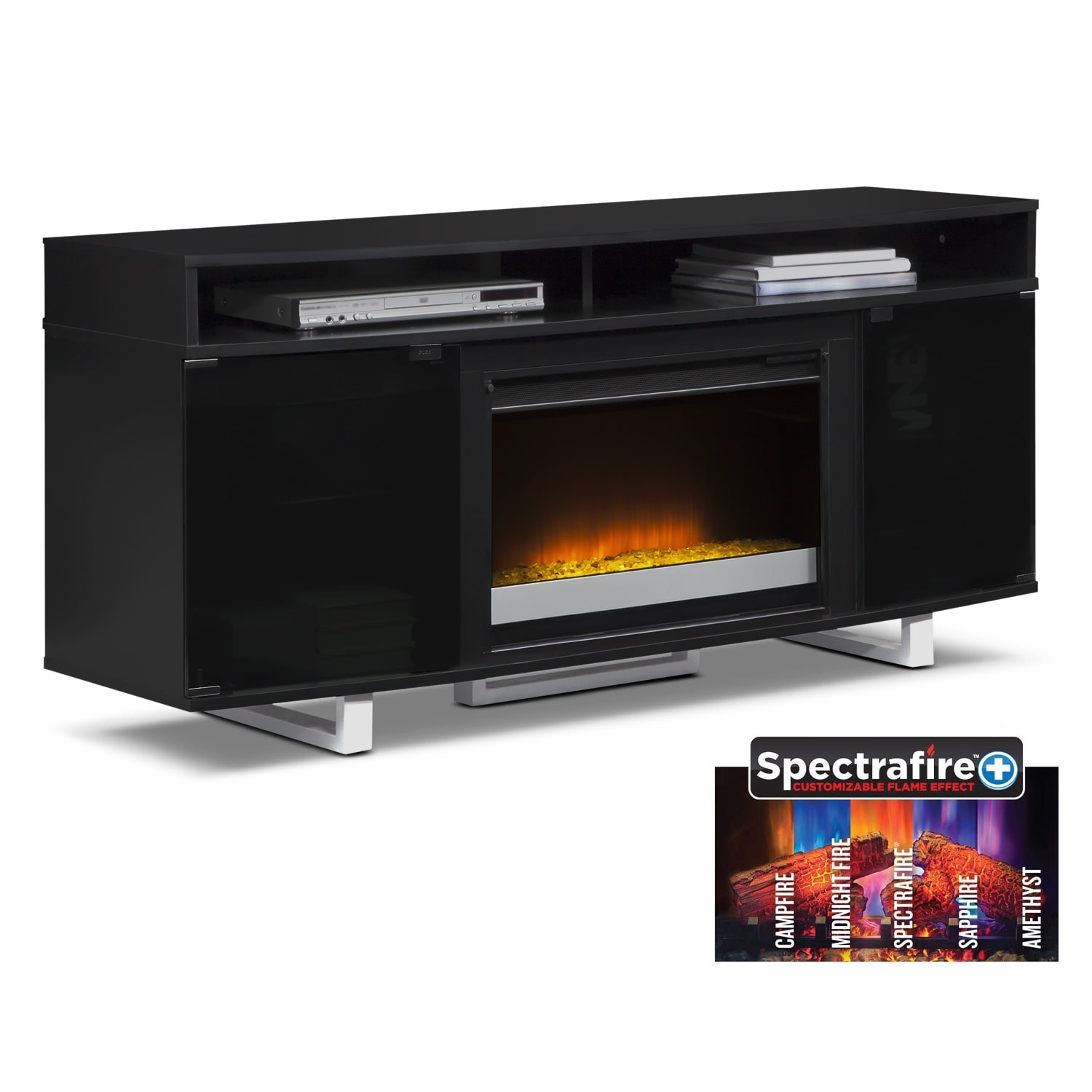"""Entertainment Furniture - Pacer 64"""" Contemporary Fireplace TV Stand - Black"""