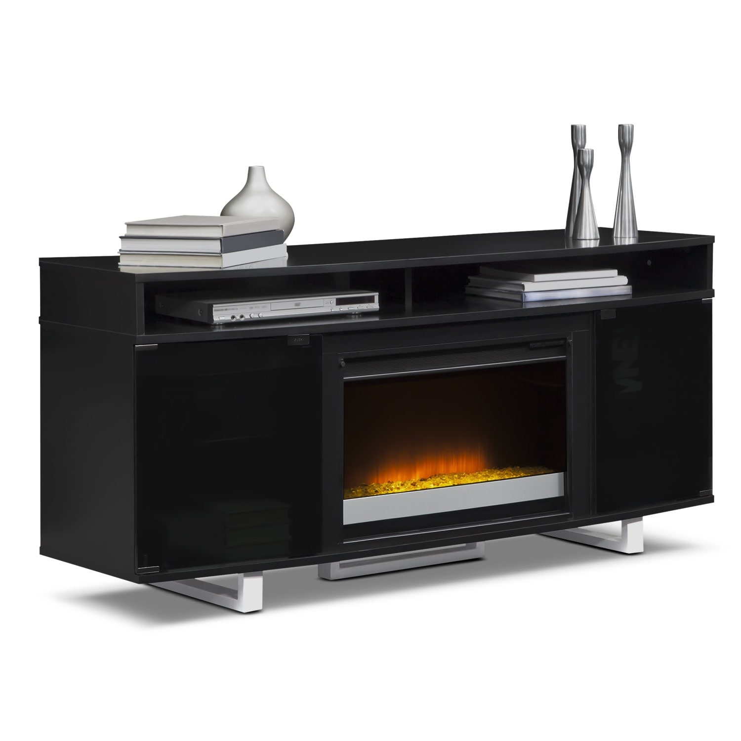 Pacer 64 Contemporary Fireplace TV Stand Black Value City