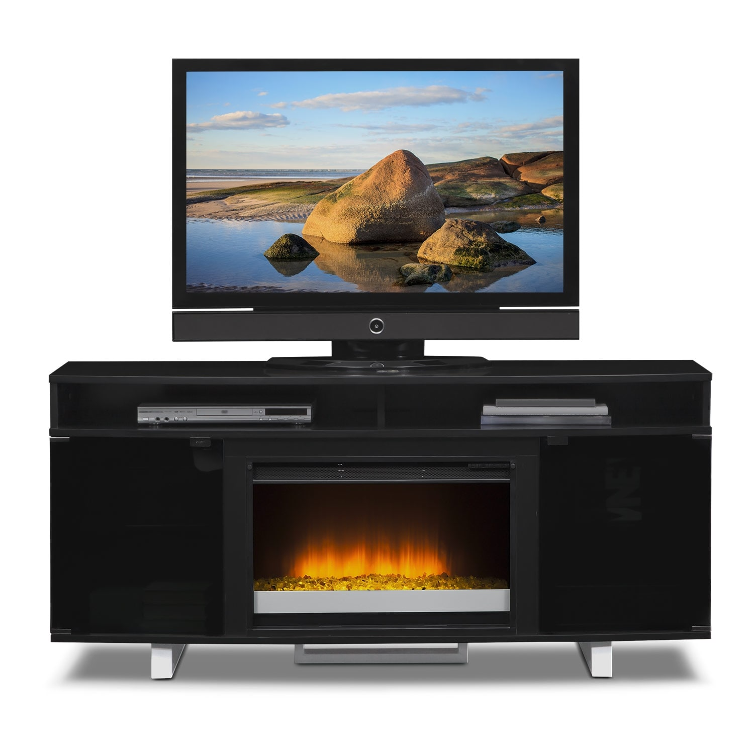 Pacer Contemporary Fireplace Tv Stand Black Value City