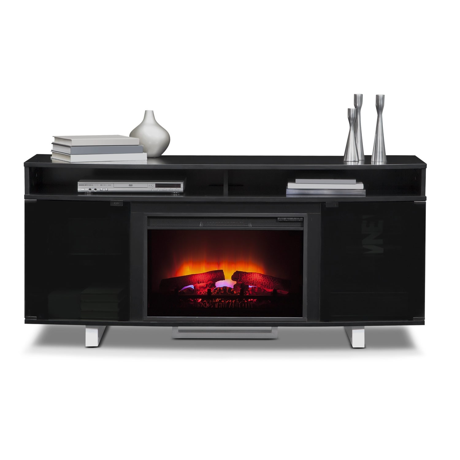 pacer 64 quot traditional fireplace tv stand black value
