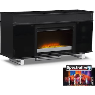 "Pacer 56"" Contemporary Fireplace TV Stand with Sound Bar - Black"