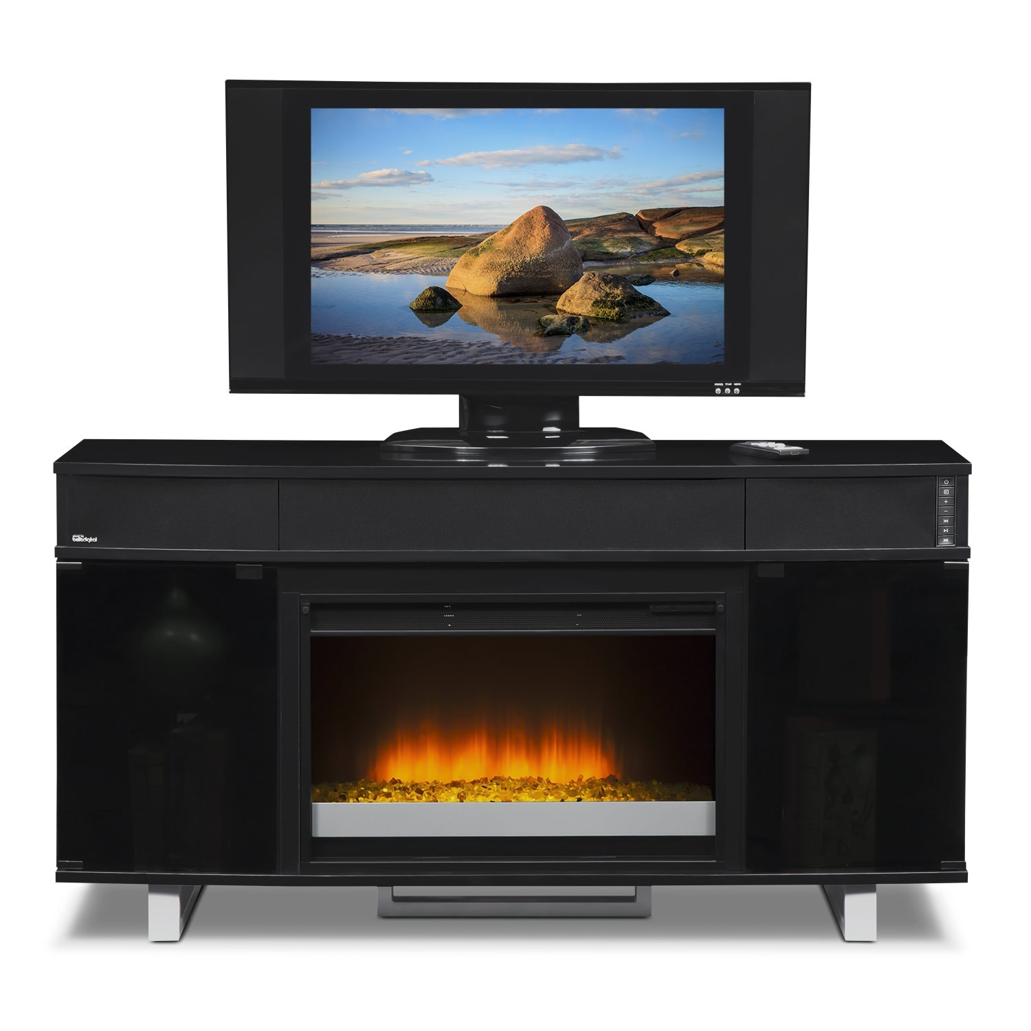 Pacer 56 Contemporary Fireplace TV Stand with Sound Bar Black