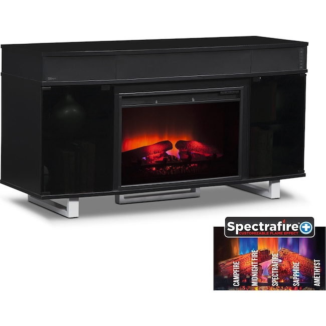 "Entertainment Furniture - Pacer 56"" Traditional Fireplace TV Stand with Sound Bar - Black"