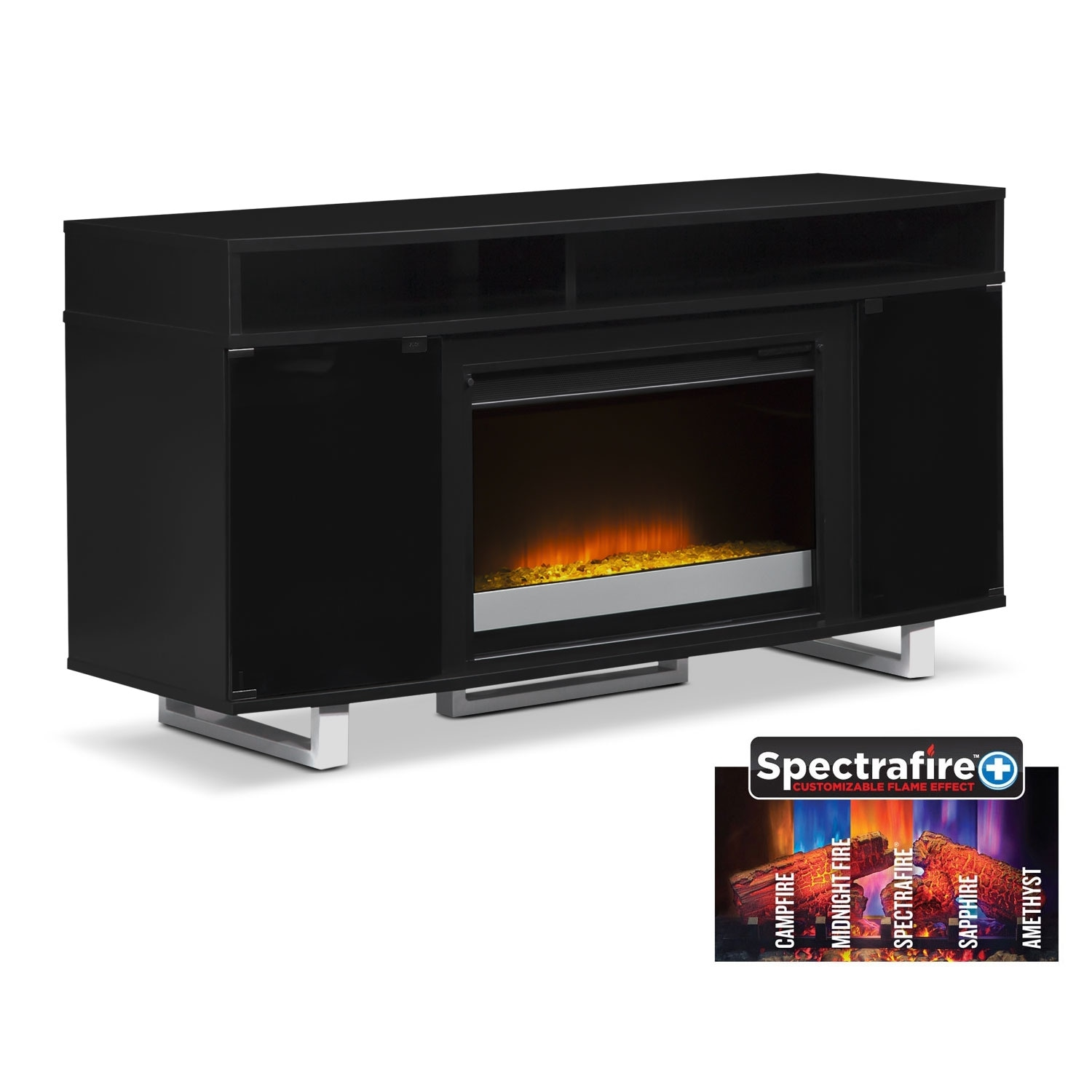 pacer 56 contemporary fireplace tv stand black value city furniture. Black Bedroom Furniture Sets. Home Design Ideas