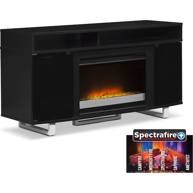 "Entertainment Furniture - Pacer 56"" Contemporary Fireplace TV Stand - Black"