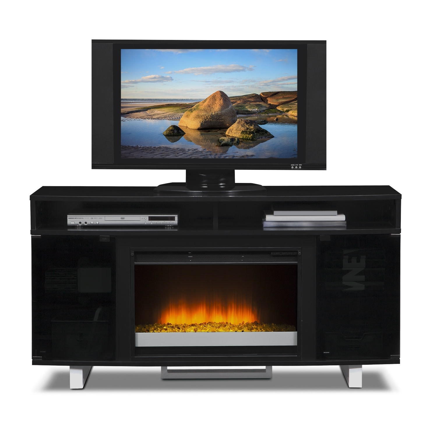 pacer 56 contemporary fireplace tv stand black value
