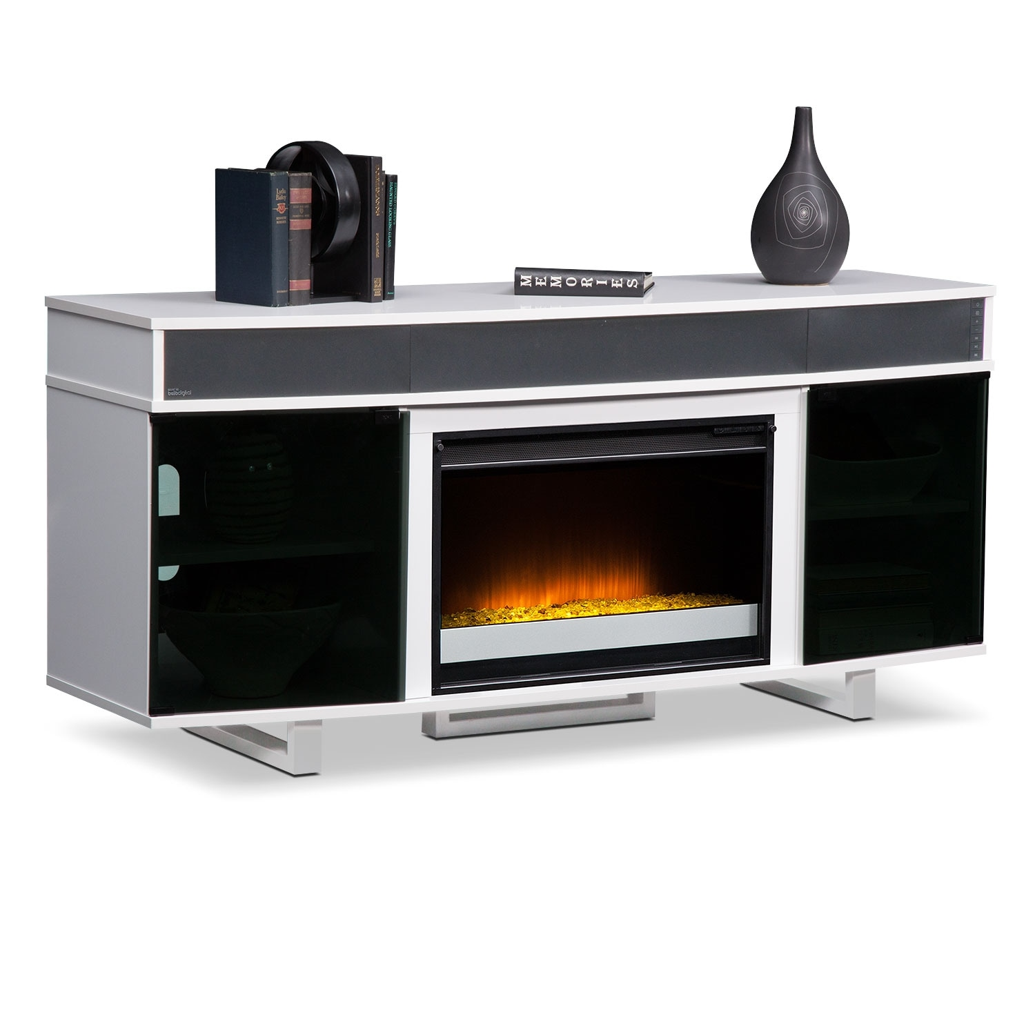 Pacer 64 Contemporary Fireplace Tv Stand With Sound Bar White