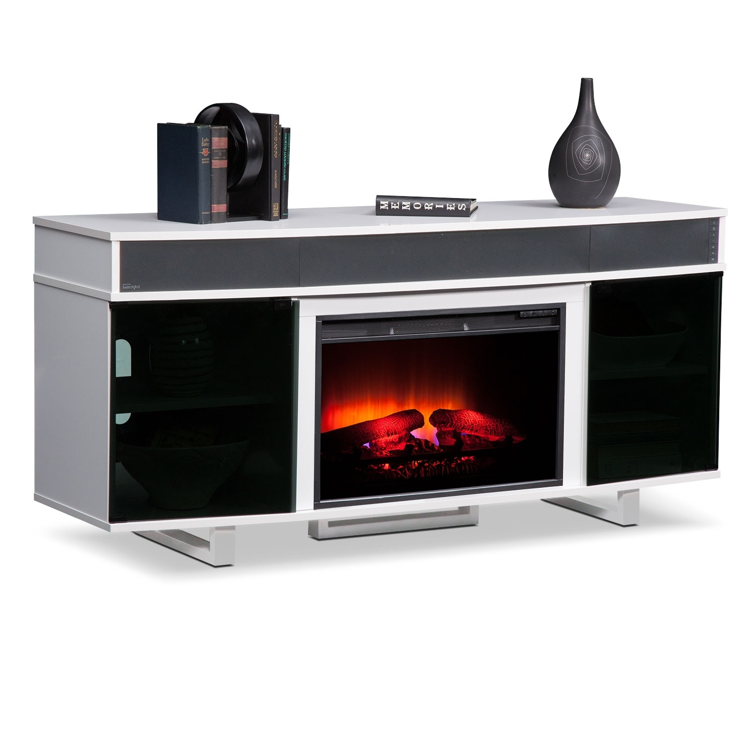 Pacer 64 Quot Traditional Fireplace Tv Stand With Sound Bar