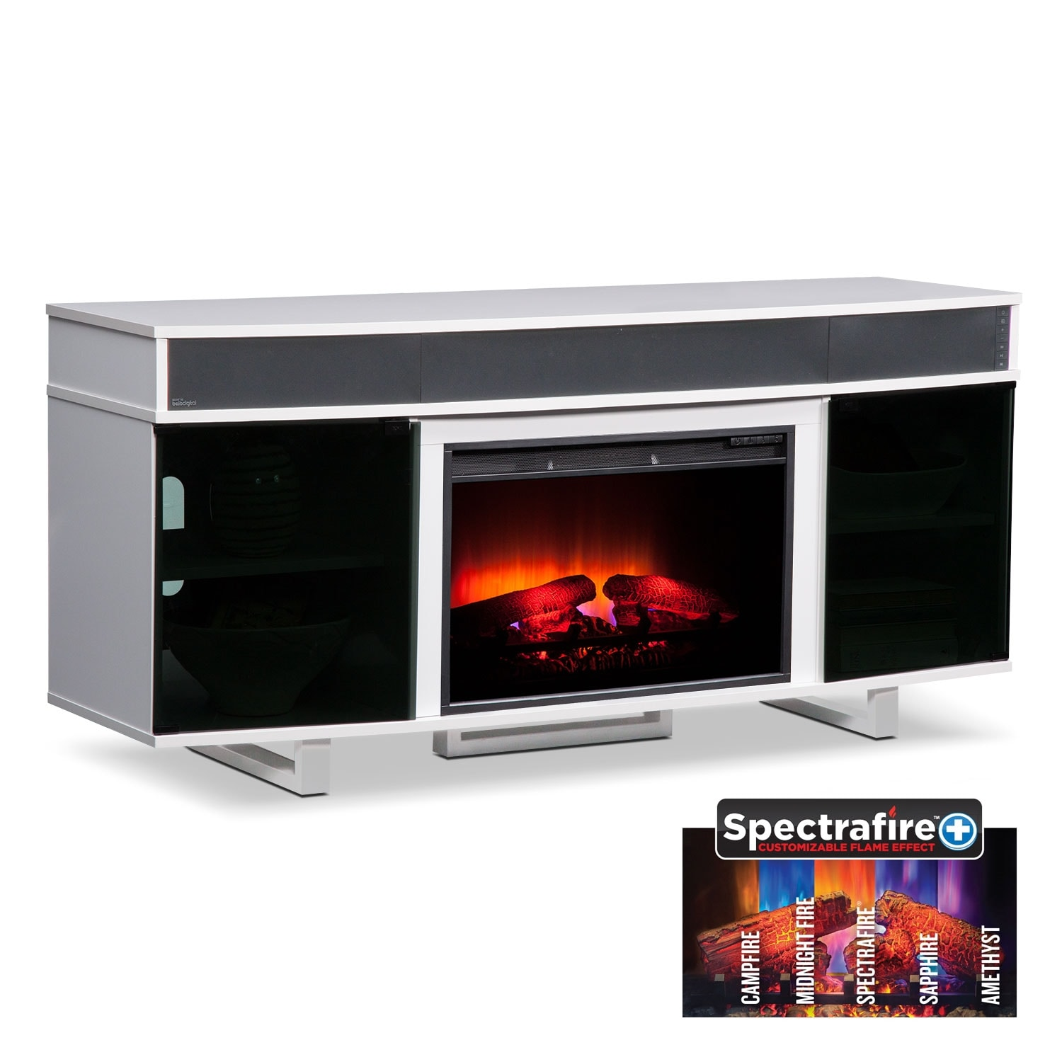"""Entertainment Furniture - Pacer 64"""" Traditional Fireplace TV Stand with Sound Bar - White"""