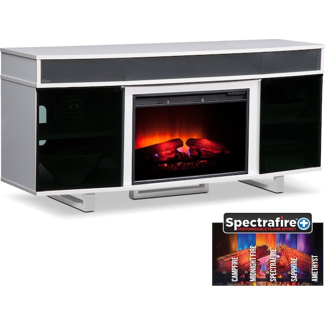 Pacer 64 Traditional Fireplace Tv Stand With Sound Bar White
