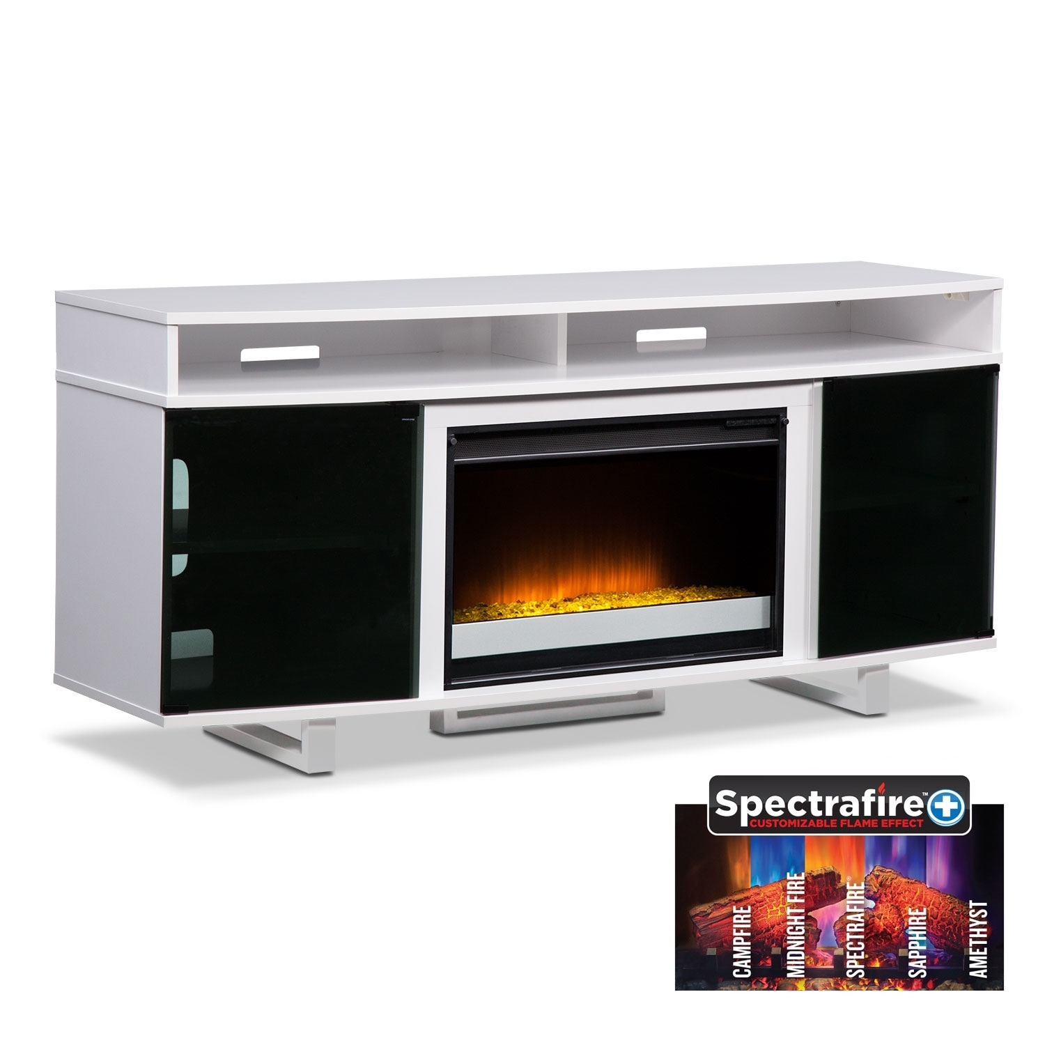 "Entertainment Furniture - Pacer 64"" Contemporary Fireplace TV Stand - White"