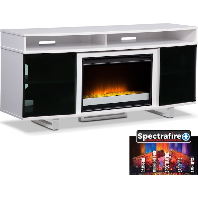 """Entertainment Furniture - Pacer 64"""" Contemporary Fireplace TV Stand - White"""
