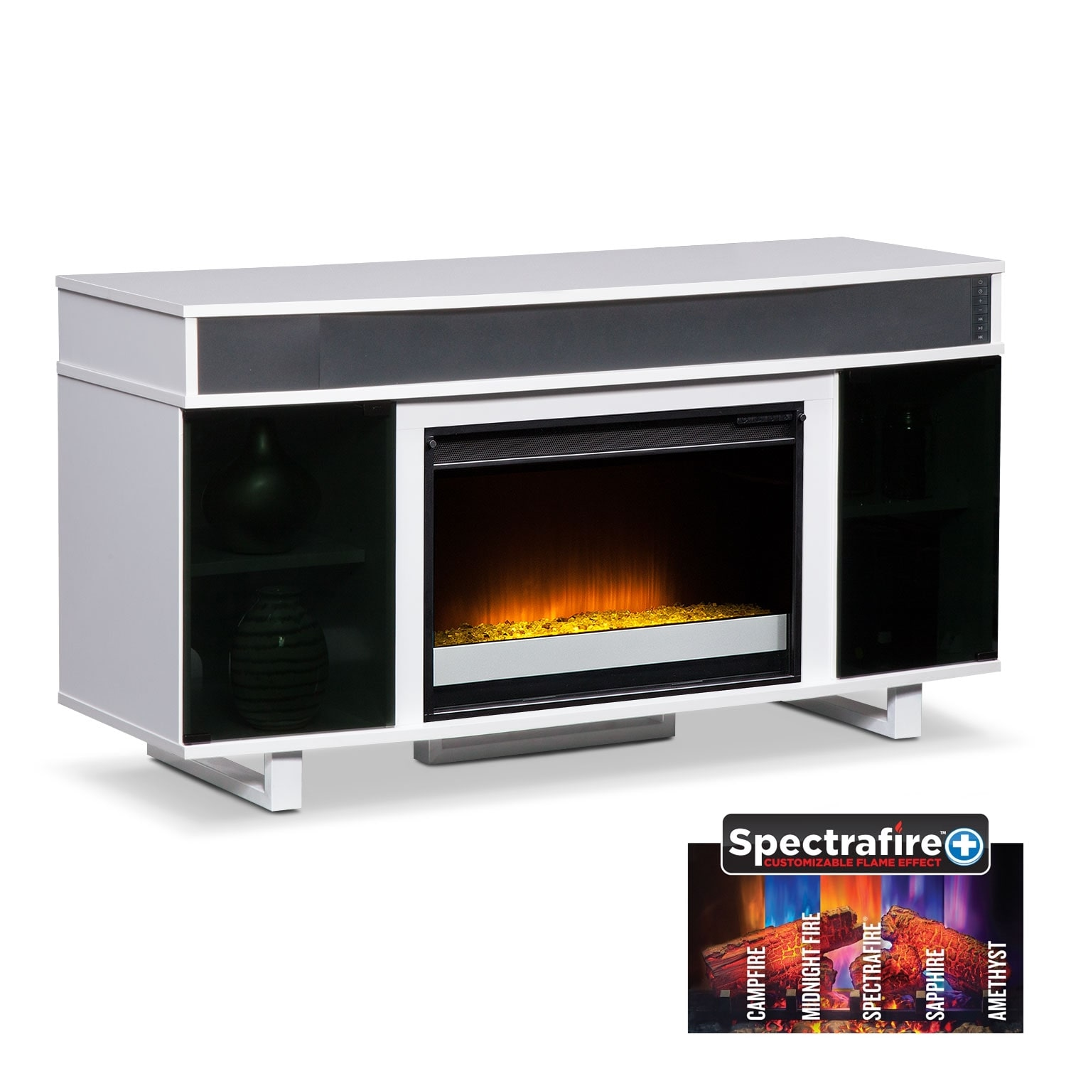 pacer  contemporary fireplace tv stand with sound bar  white  -  contemporary fireplace tv stand with sound bar  white hover to zoom