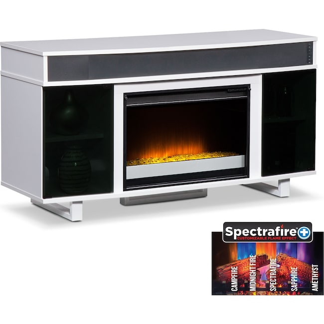 "Entertainment Furniture - Pacer 56"" Contemporary Fireplace TV Stand with Sound Bar - White"