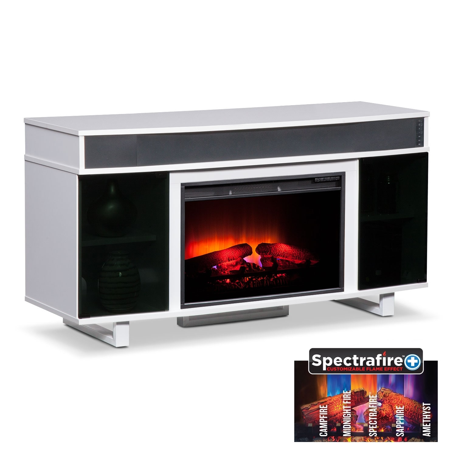 "Entertainment Furniture - Pacer 56"" Traditional Fireplace TV Stand with Sound Bar - White"