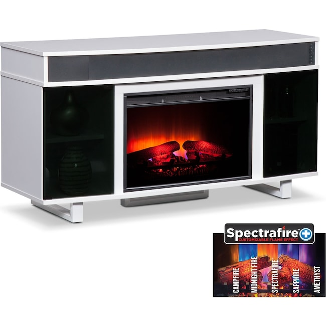 """Entertainment Furniture - Pacer 56"""" Traditional Fireplace TV Stand with Sound Bar - White"""