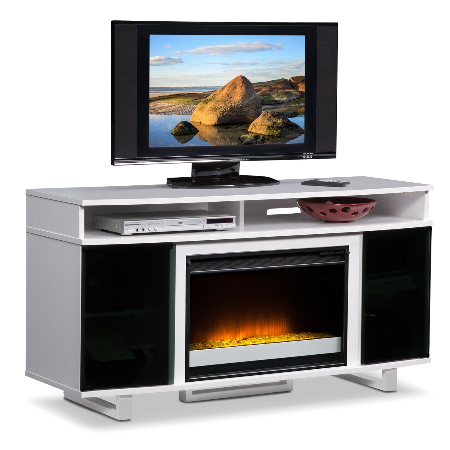 pacer 56 contemporary fireplace tv stand white value