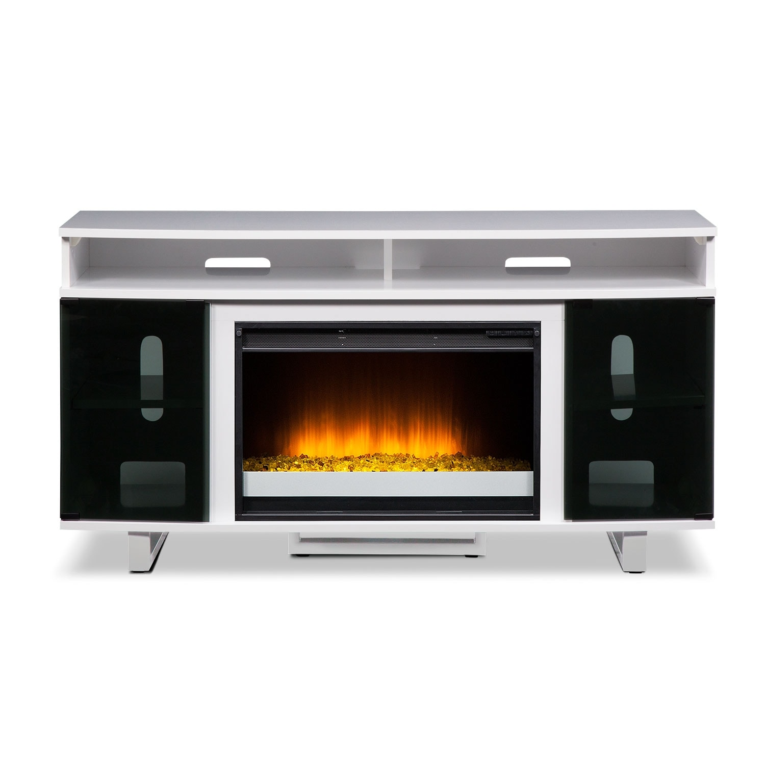 Pacer 56 Quot Contemporary Fireplace Tv Stand White Value