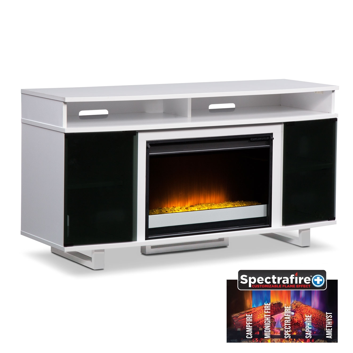 """Entertainment Furniture - Pacer 56"""" Contemporary Fireplace TV Stand - White"""