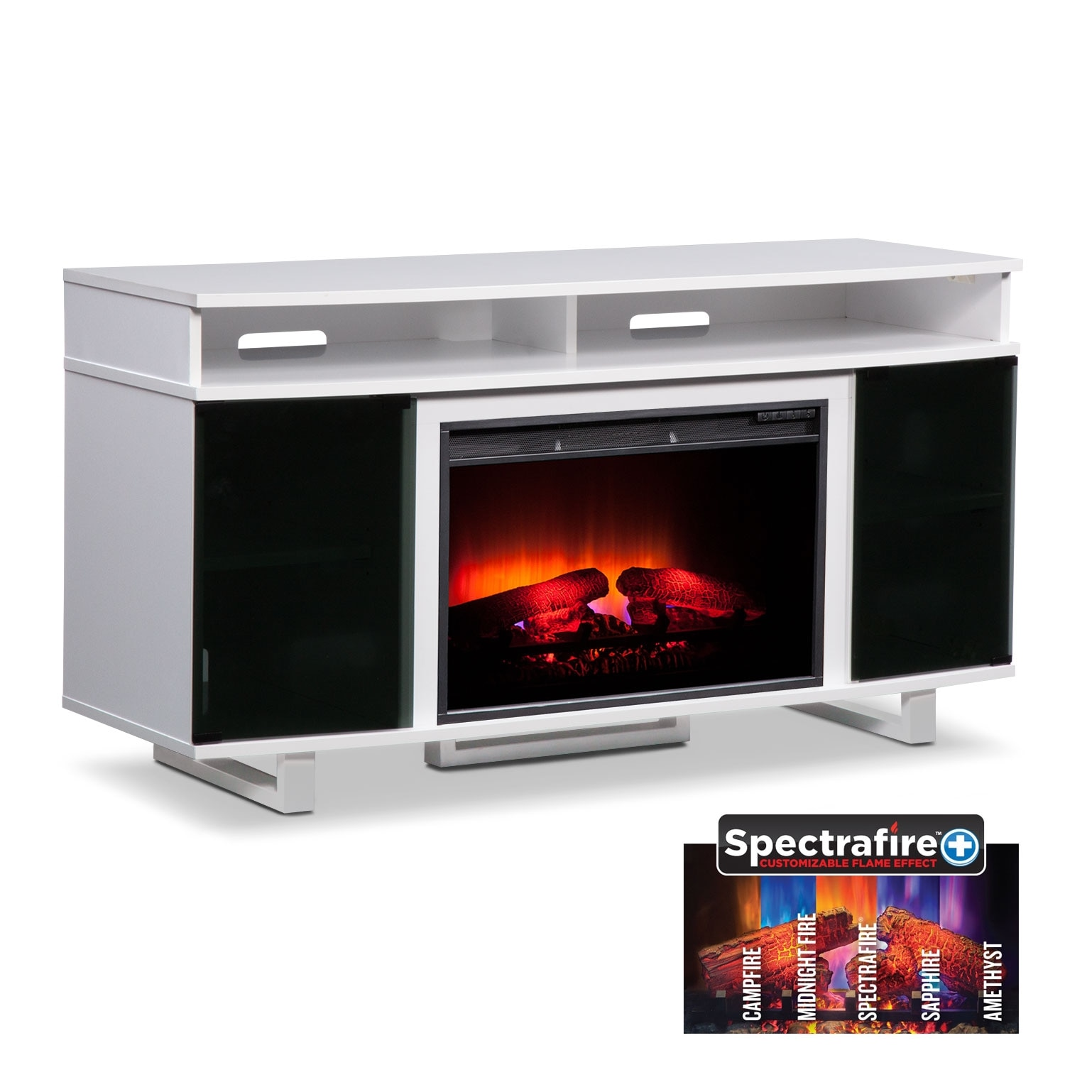 Pacer 56  Traditional Fireplace TV Stand   White. T V Stands   Media Centers   Value City Furniture