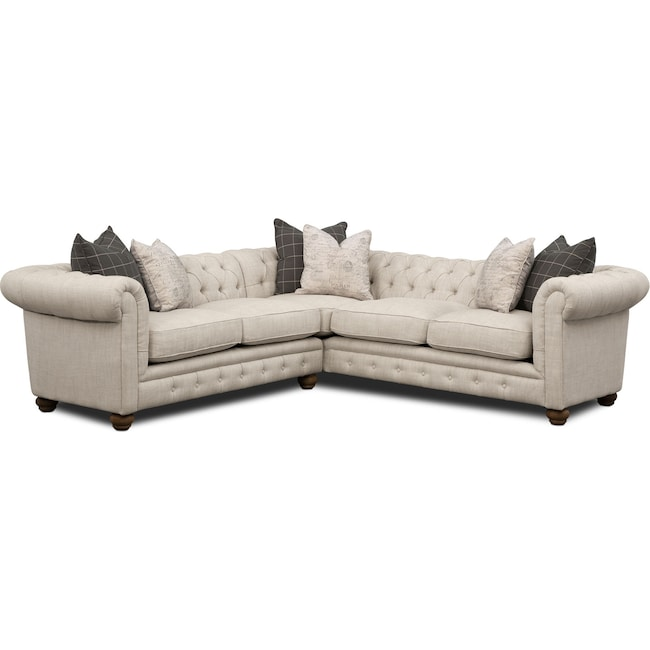 Living Room Furniture - Madeline 2-Piece Sectional - Beige