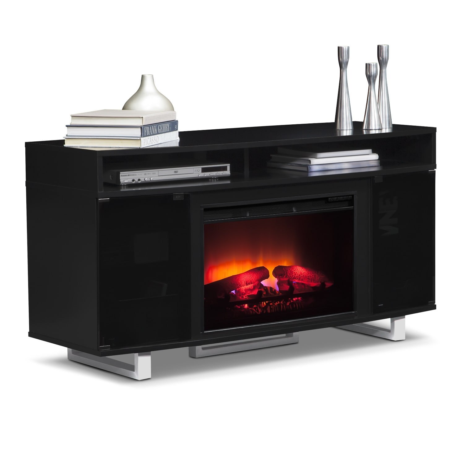 pacer 56 traditional fireplace tv stand black value